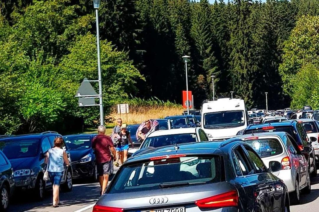 Parkende Autos auf dem Geh- und Radweg... im August 2018 in und am Titisee aus.  | Foto: Privat