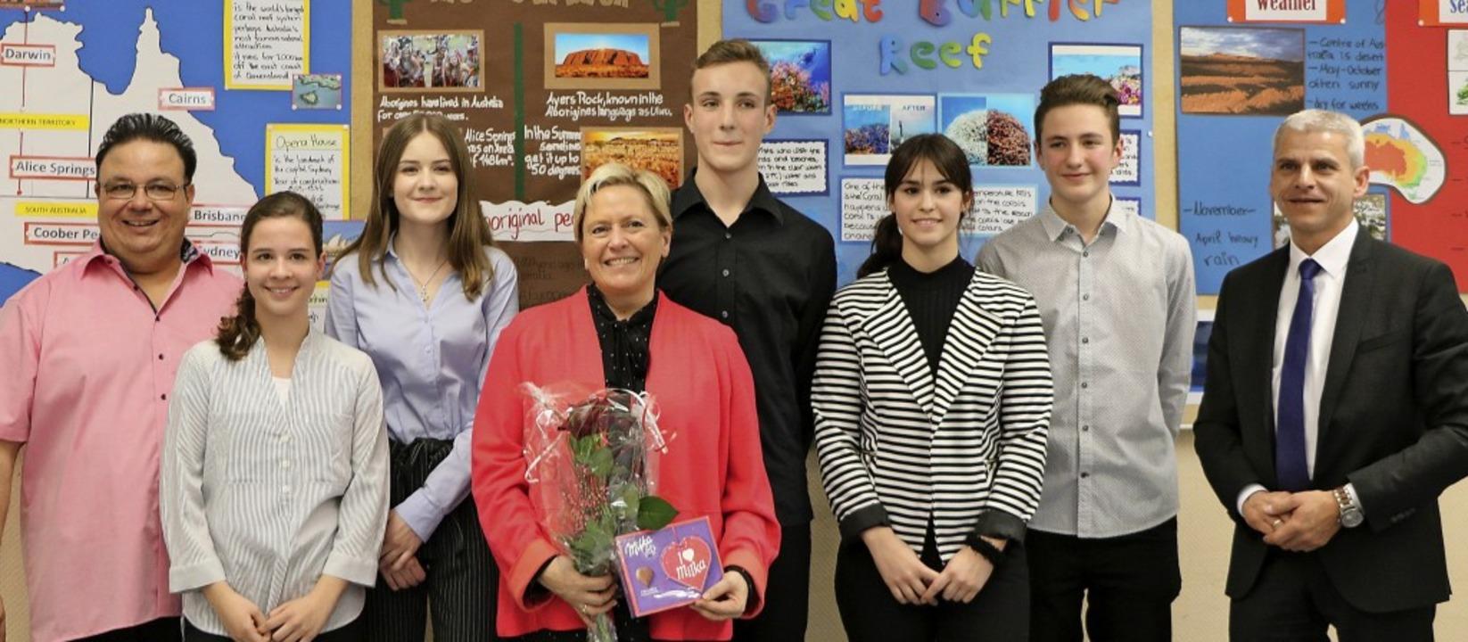 Beim Besuch von Kultusministerin Susan...bilingualen Sprachzug der Schule vor.   | Foto: Müller