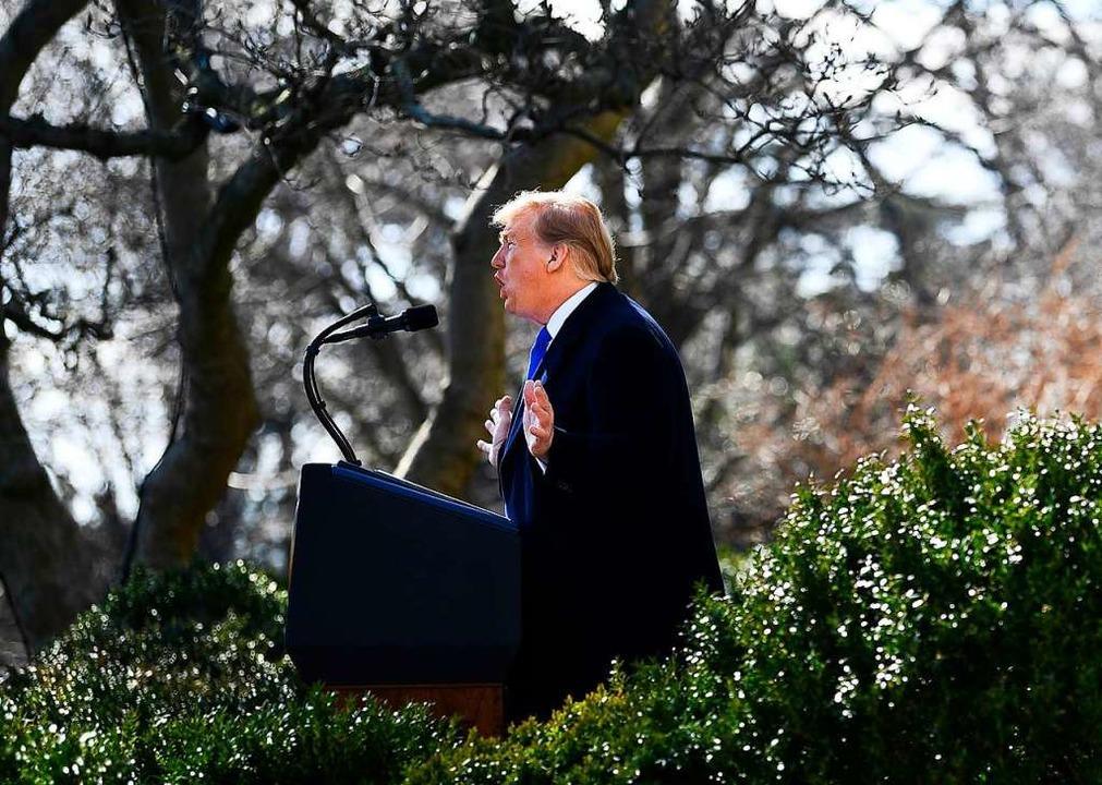 Der US-Präsident am Freitag im Rosengarten des Weißen Hauses   | Foto: AFP