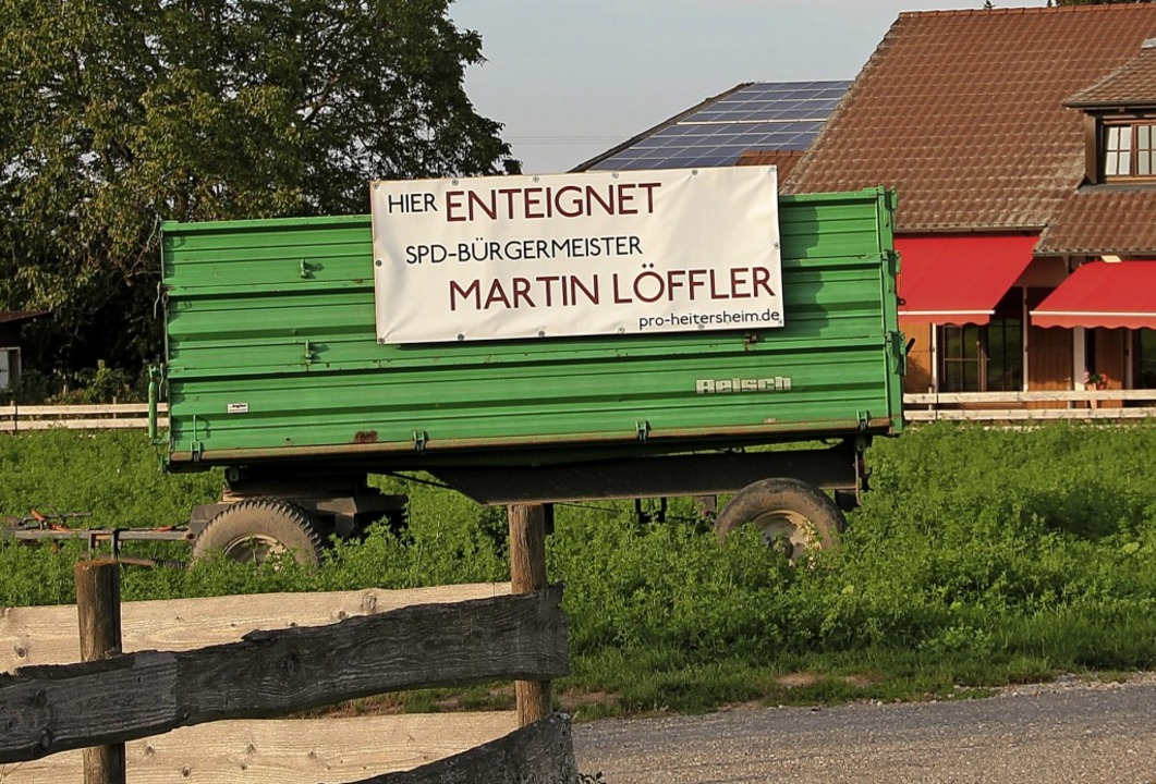 Die Plakate der Initiative Pro Heiters...rag im Vorfeld der Bürgermeisterwahl.     Foto:  Model/Pfefferle