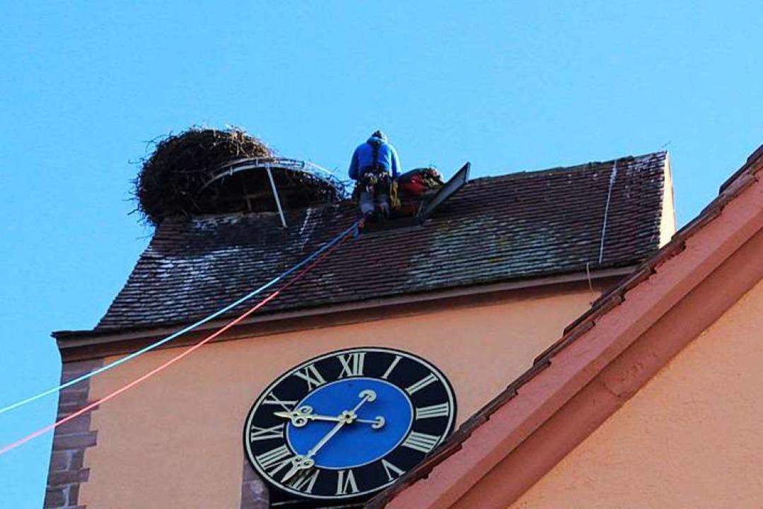 Sicher angeleint waren die Mitarbeiter...er Christuskirche in Efringen-Kirchen.  | Foto: Victoria Langelott