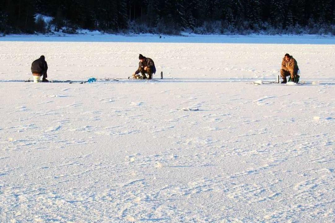Mehrere Eisfischer in der Ahabucht sug...önne die Eisfläche gefahrlos betreten.  | Foto: Archiv Zapf