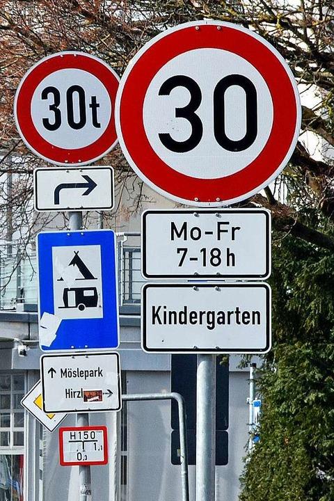 Verwirrend: Zu den diversen 30er-Schil...straße kommen noch 30-Tonnen-Schilder.  | Foto: Michael Bamberger
