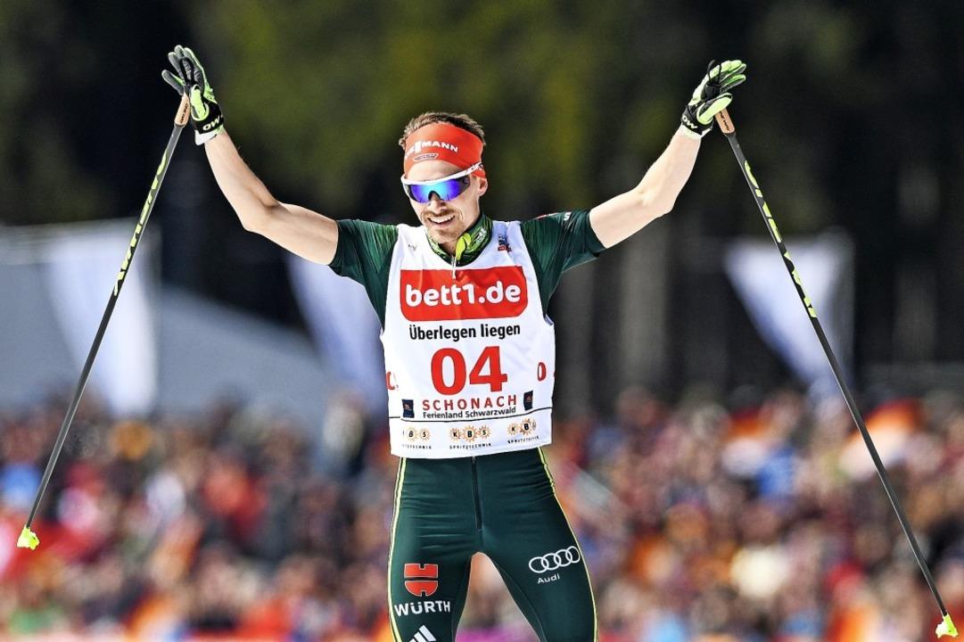Jubeln will Fabian Rießle in Seefeld. ...swettbewerb ist er Titelverteidiger.    | Foto: seeger (dpa)