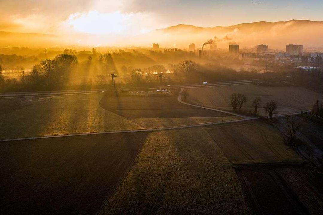 Blick über das Dietenbachgebiet im Fre...rde bisher landwirtschaftlich genutzt.  | Foto: Michael Saurer
