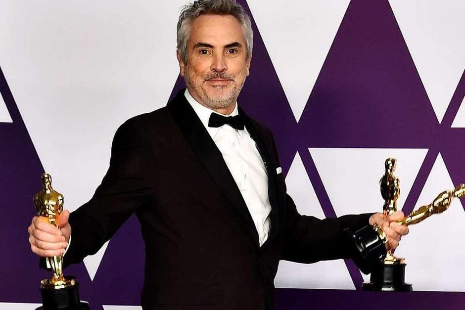 """Alfonso Cuaron konnte drei Oscars mitnehmen. Er wurde ausgezeichnet für den besten Regisseur, die beste Kamera und für den besten nicht-englischsprachigen Film für """"Roma"""". (Foto: dpa)"""