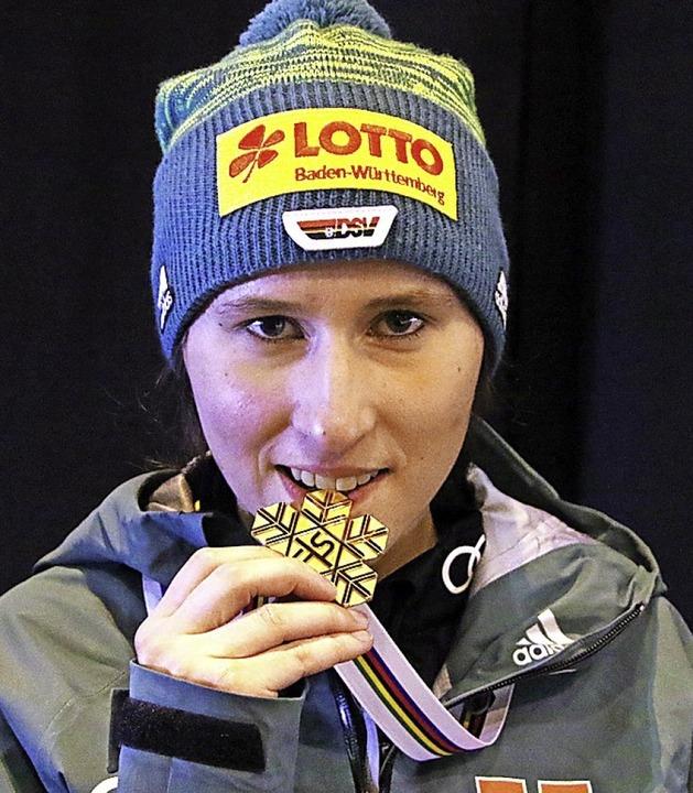 Bissfest: Ramona Straub, Weltmeisterin im Teamspringen  | Foto: hahne
