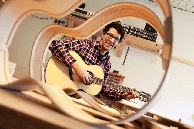 Gitarrenbauer Jan Wenk will mit handgefertigten Instrumenten überzeugen