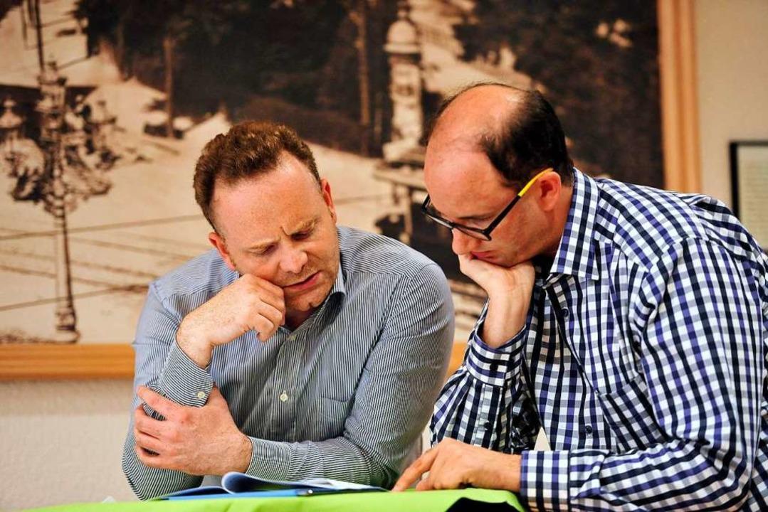 Christoph Glück (links) und Sascha Fie...r 2014 nach der damaligen Kommunalwahl  | Foto: Thomas Kunz