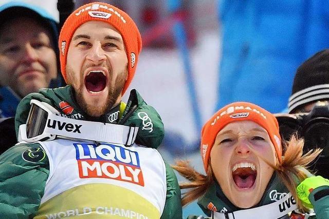 Zum Abschluss nochmal Skisprung-Gold