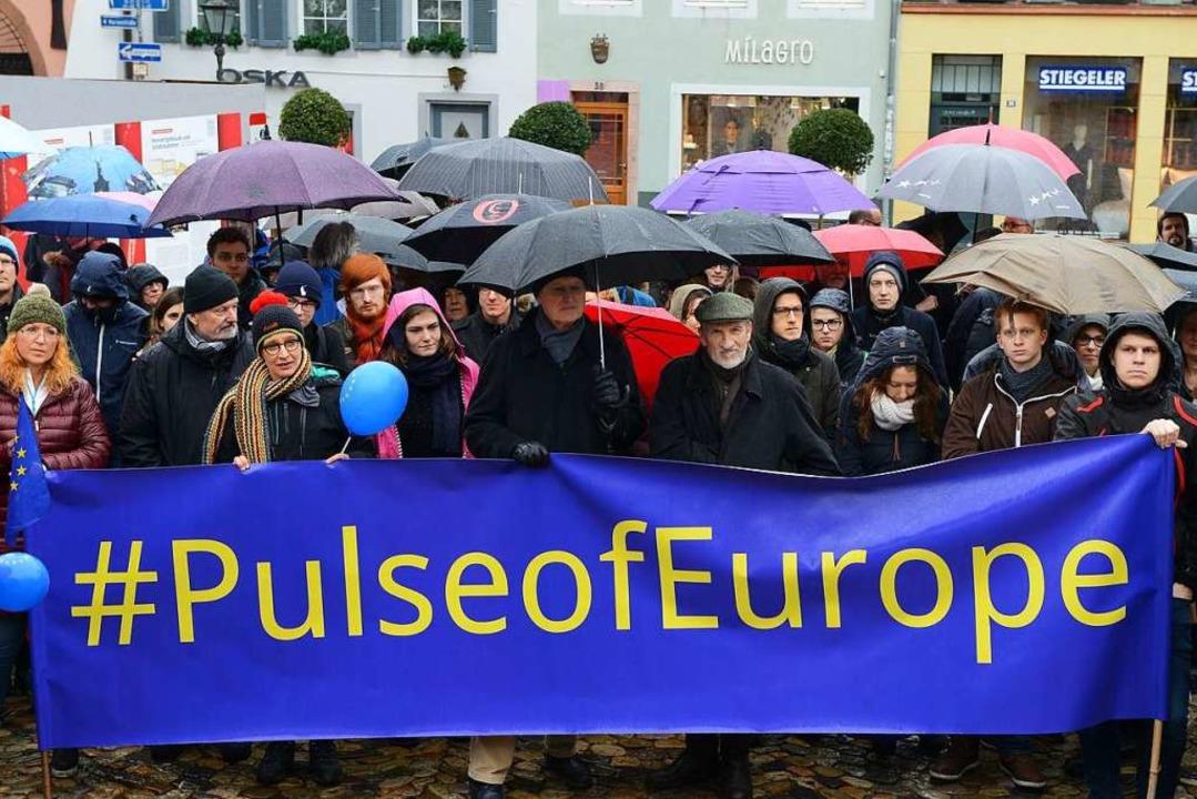 Unter dem Motto #PulseofEurope bilden ...kette – für ein geeintes Europa.  | Foto: Rita Eggstein