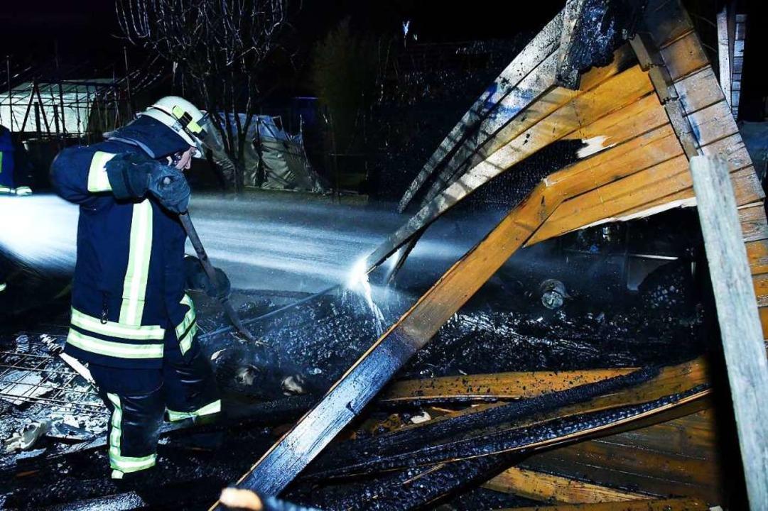Zwei Stunden später brannte eine Gartenhütte in Kippenheim.  | Foto: Wolfgang Künstle