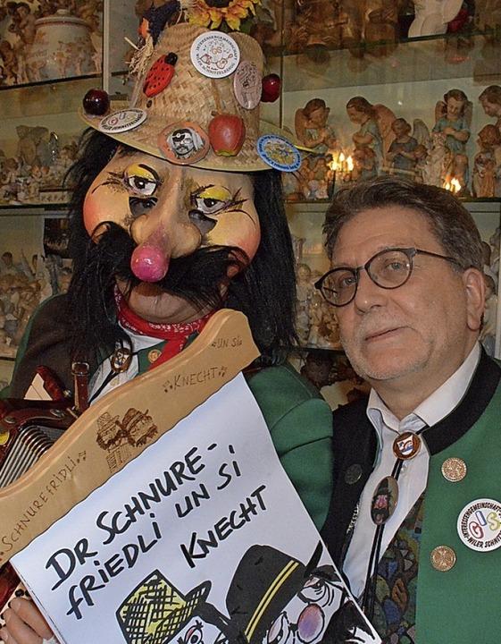 Ohne Maske sieht man besser: Dr Schnurefriedli un si Chnecht  | Foto: Hannes Lauber