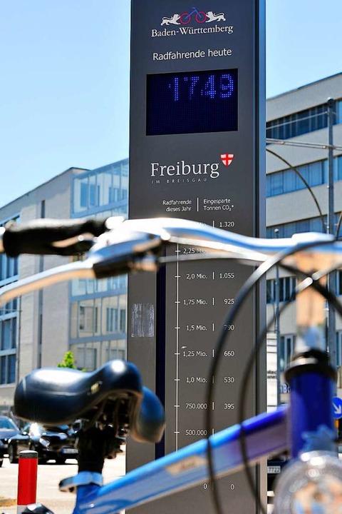 3.395.631 Fahrräder überquerten 2017 d...ren, wird durch einen Zähler gemessen.    Foto: Thomas Kunz