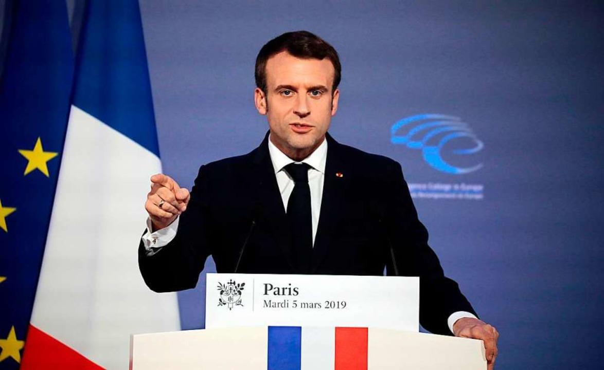 "Frankreichs Präsident Emmanuel Macron ...nen ""Neubeginn in Europa"".  | Foto: AFP"