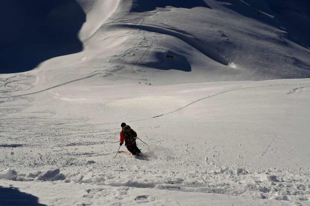 So verkrustet wie hier war der Schnee auf der Tour nur selten.  | Foto: Jannik Jürgens