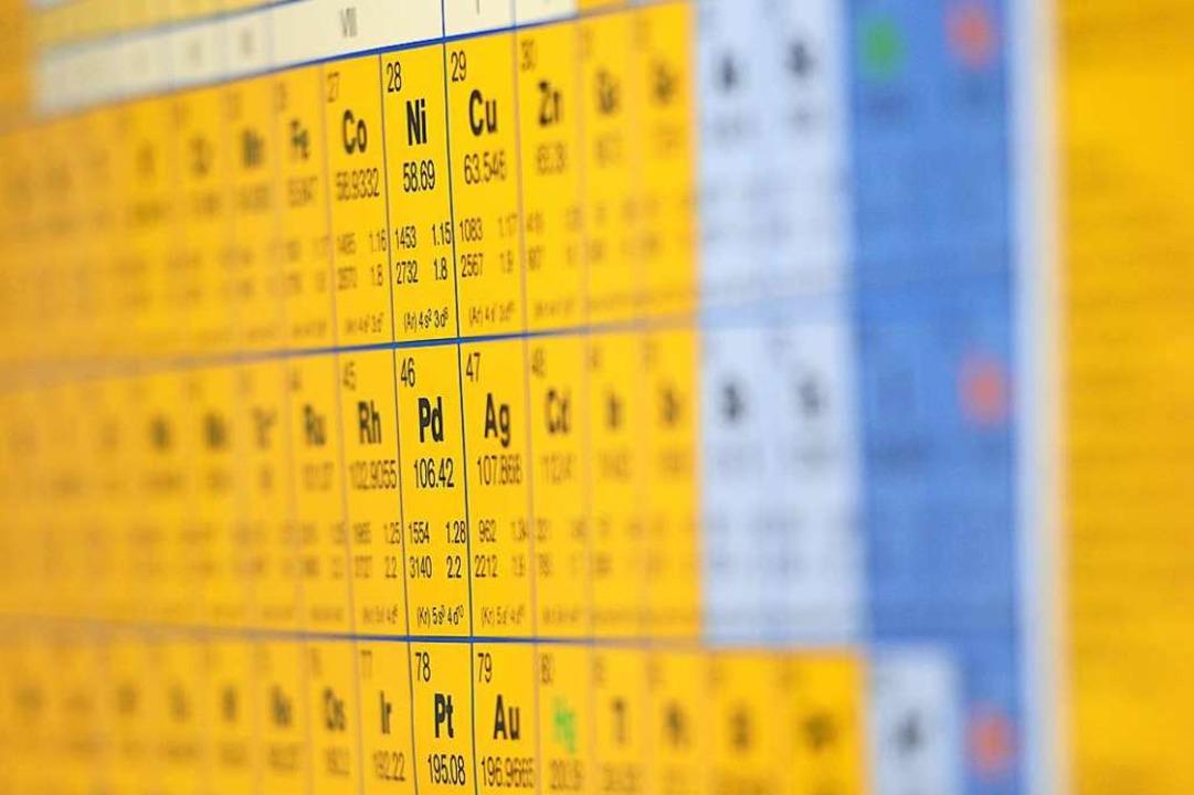 Das Periodensystem der Elemente katalo...us denen wir und unsere Welt bestehen.  | Foto: dpa