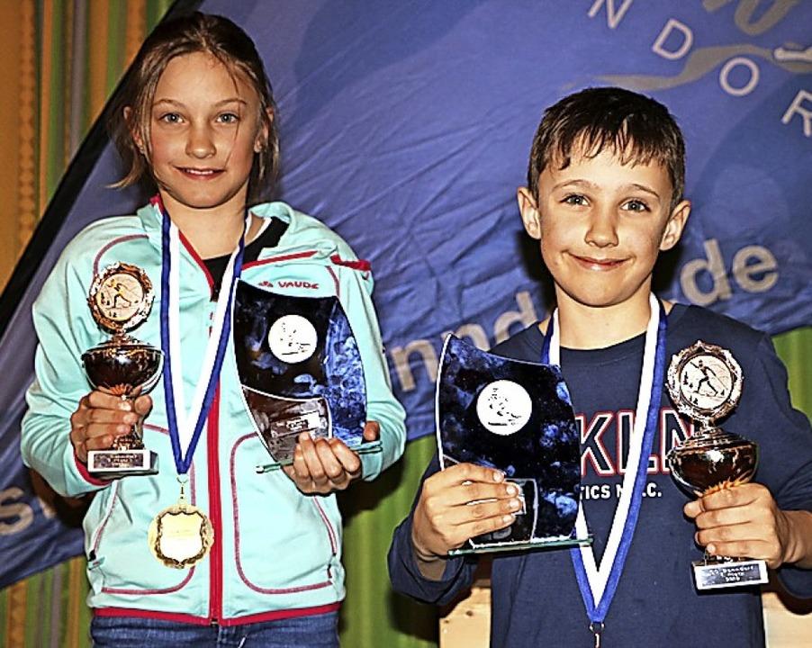 Die Geschwister Ida und Jakob Dietsche... in ihrer Altersklasse auf Platz eins.    Foto: Martha Weishaar