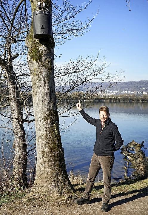 Der Leiter der Stadtgärtnerei, Bernd K...ch um die Nistkästen für Fledermäuse.     Foto: Verena Wehrle