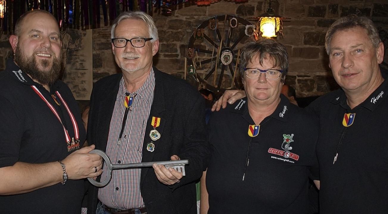 Froh waren die Hauinger Narren, dass s...er und Zeremonienmeister Ralf Renckly   | Foto: Paul Schleer