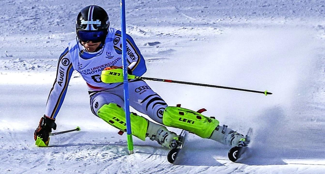 Unter den besten 30 im Slalom: Tim Sie...iste im Funpark Bobrovy in Krasnojarsk  | Foto: Martin Siegmund