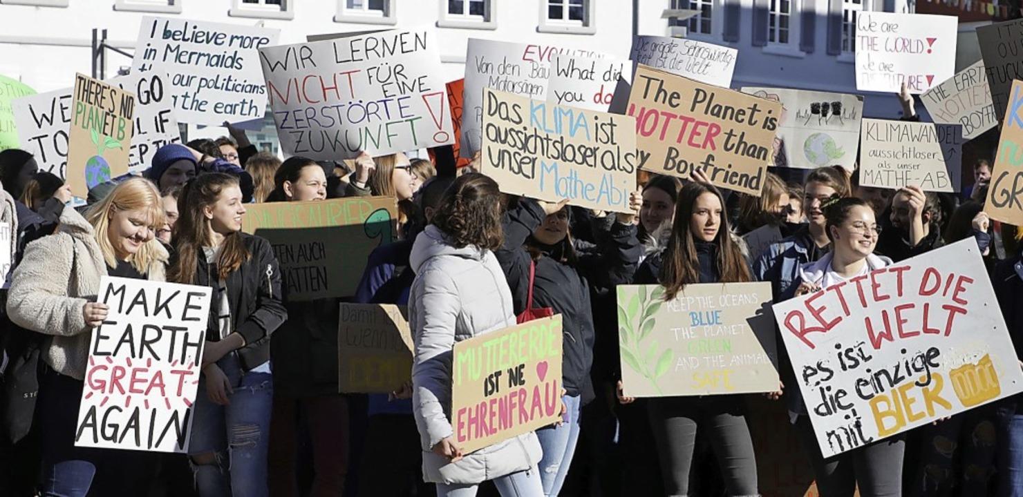 Klimaprotest mit kreativen Plakaten ze...r Mitte Februar auf dem Rathausplatz.   | Foto: christoph Breithaupt