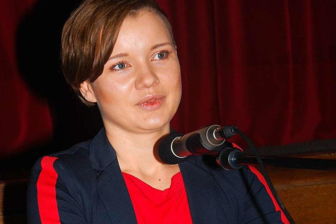 Die AfD-Aussteigerin Franziska Schreiber im Vortragsabend in Waldkirch.  | Foto: Dorothea Scherle