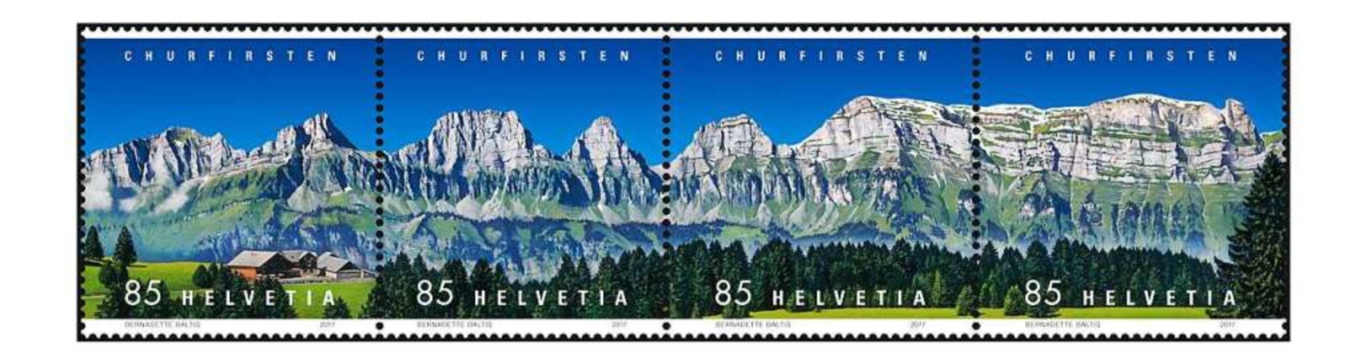 Die Schweiz geht ebenfalls mit einer Panoramamarke ins Rennen.  | Foto: Schweizerische Post AG