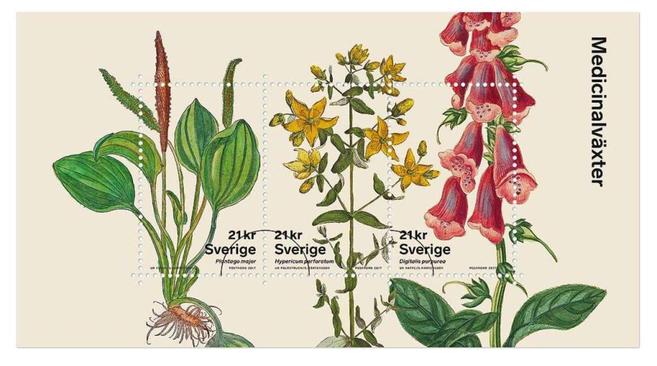 Die schwedische Marke zeigt Heilpflanzen.  | Foto: PostNord Sverige