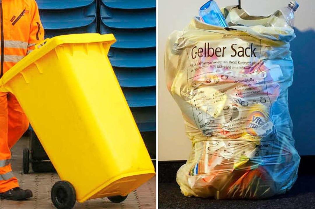 Gelber Sack oder Gelbe Tonne? Noch bis...eumfrage der Abfallwirtschaft Lörrach.  | Foto: Montage: dpa und Wolfgang Grabherr