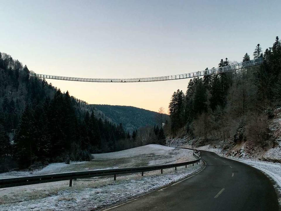 So könnte sie einmal aussehen, die Hängebrücke über das Wehratal.   | Foto: Fotomontage: Freunde für Todtmoos
