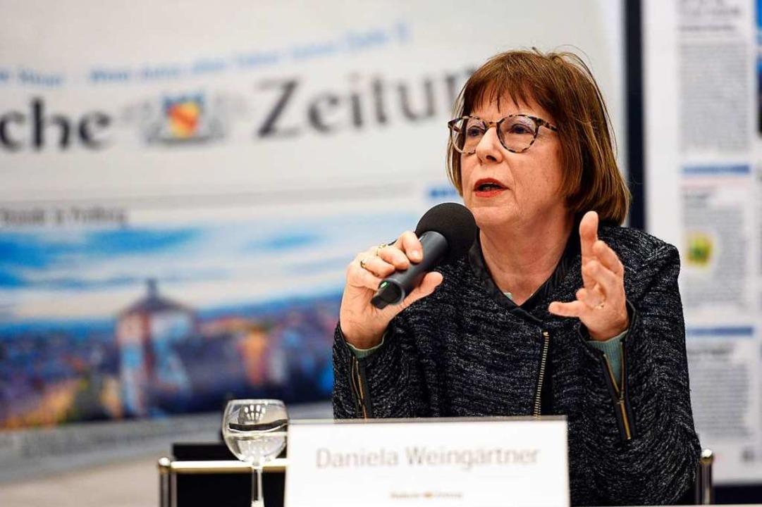 Daniela Weingärtner im Gespräch  | Foto: Thomas Kunz