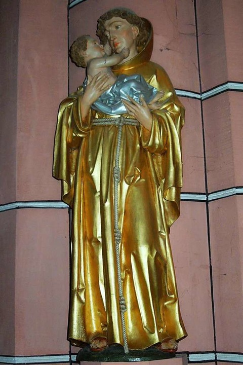Diese Antoniusstatue steht in der Glottertäler Kirche St. Blasius.    Foto: Gabriele Fässler