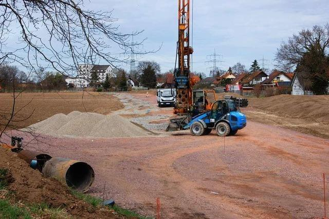 Das Land hat mit dem Bau der Schutzbrunnen für den Polder begonnen