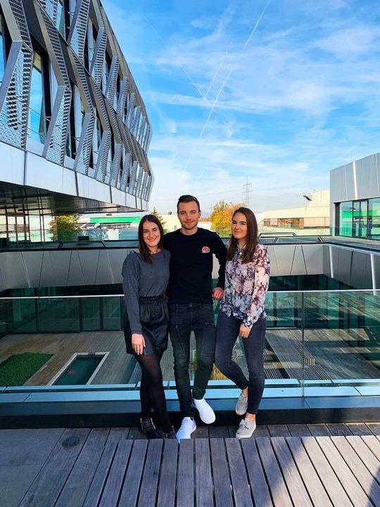 Unsere neuen Ausbildungsbotschafter (v.l.) Vanessa, Fabian und Lisa.  | Foto: Fabian S.