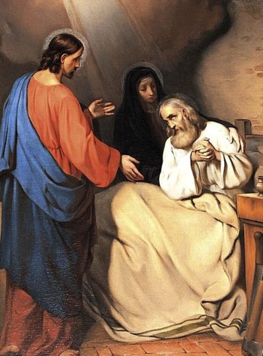 Die seltene Darstellung vom Tod des Jo...enden sind Maria und Jesus abgebildet.  | Foto: manfred Frietsch