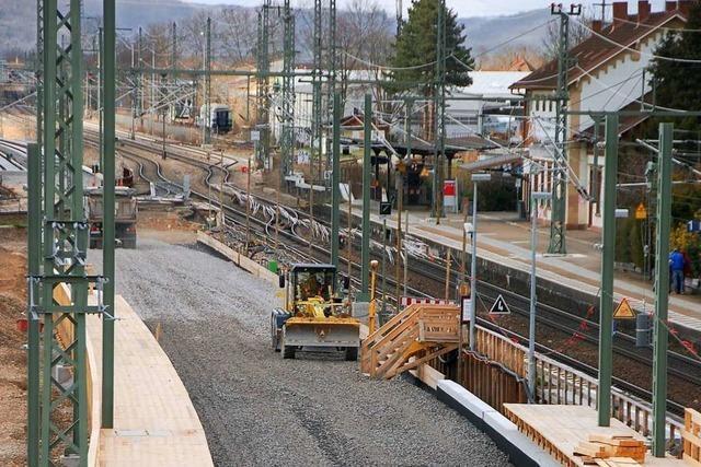 Der Ausbau der Rheintal-Bahnstrecke in Haltingen schreitet voran