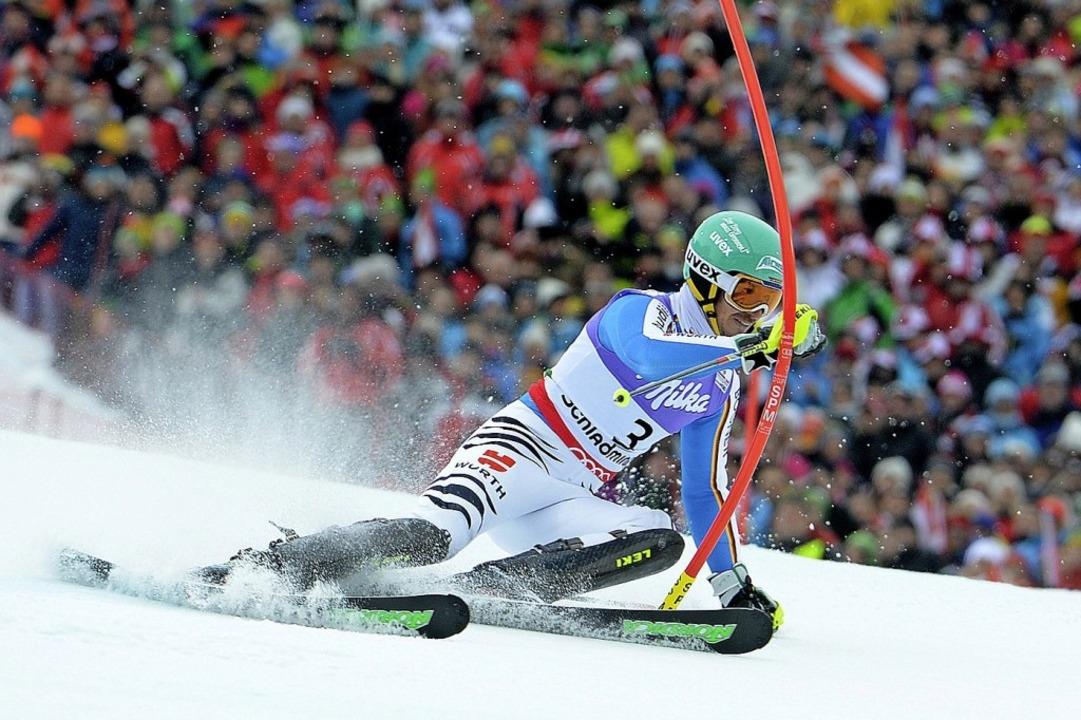 Felix Neureuther 2013 in Schladming, als er WM-Silber im Slalom gewann.    Foto: dpa