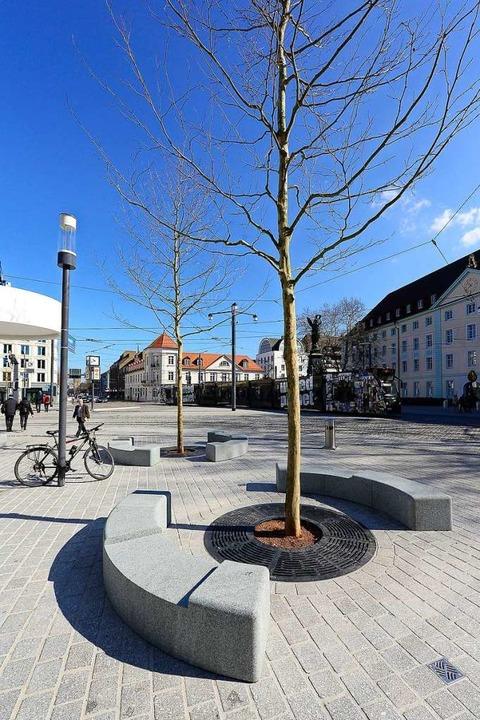 Maßgefertigte Stolperfallen? Die Grani...uf dem Europaplatz sind kaum kniehoch.  | Foto: Ingo Schneider