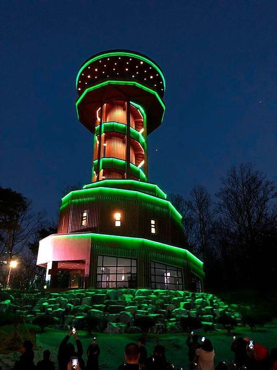 Suwons  Seeparkturm leucht in Grün.  | Foto: Stefan Breiter