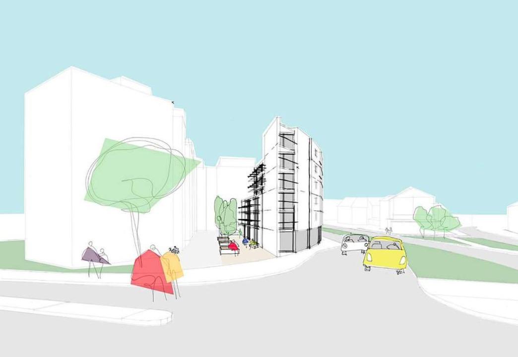 An der Ecke Merzhauser/Weddigenstraße ...geschossige Bebauung mit Innenhof vor.    Foto: Gehri SF Bau