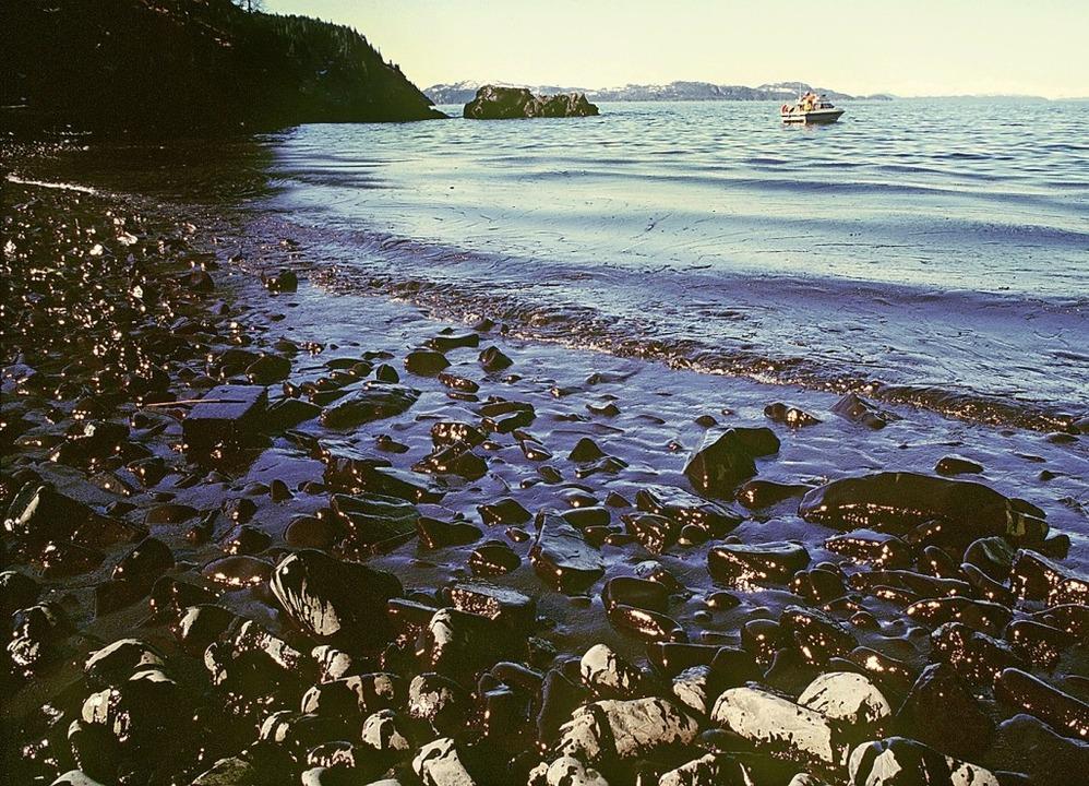 Aufnahme vom März 1989 mit  ölverschmierter Küste in Alaska   | Foto: dpa
