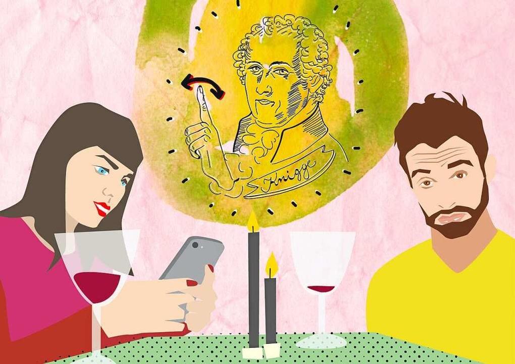 Knigge sagt  im Hintergrund: Lieber de...ch nicht so schnell seinen Wein leer.   | Foto: Illustration: Karo Schrey