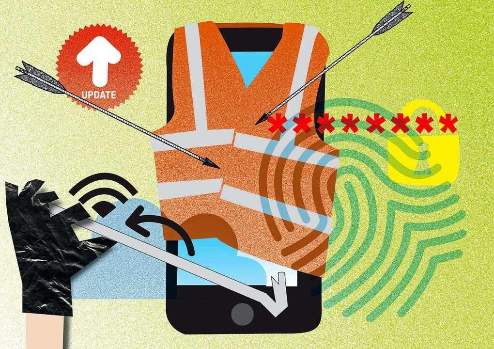 Der Smartphone kann zahlreichen Angriffen ausgesetzt sein.   | Foto: illustration von Karo Schrey