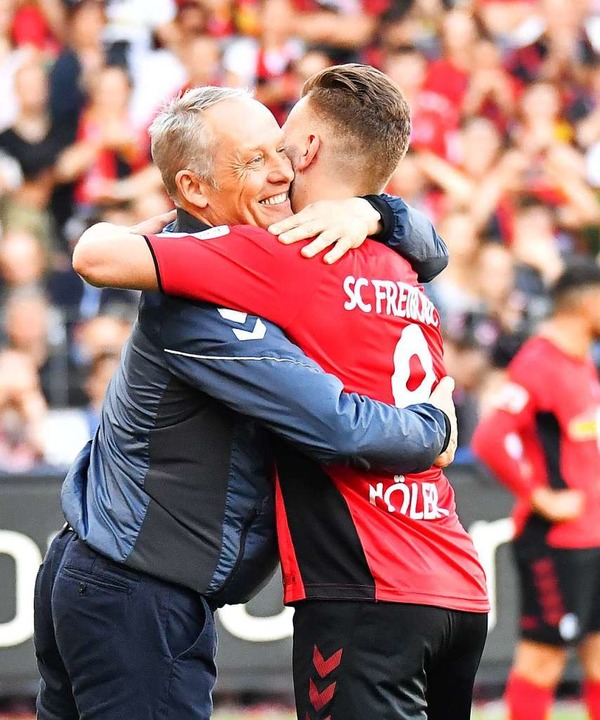 SC.Trainer Christian Streich und Spieler Lucas Höler  | Foto: Achim Keller