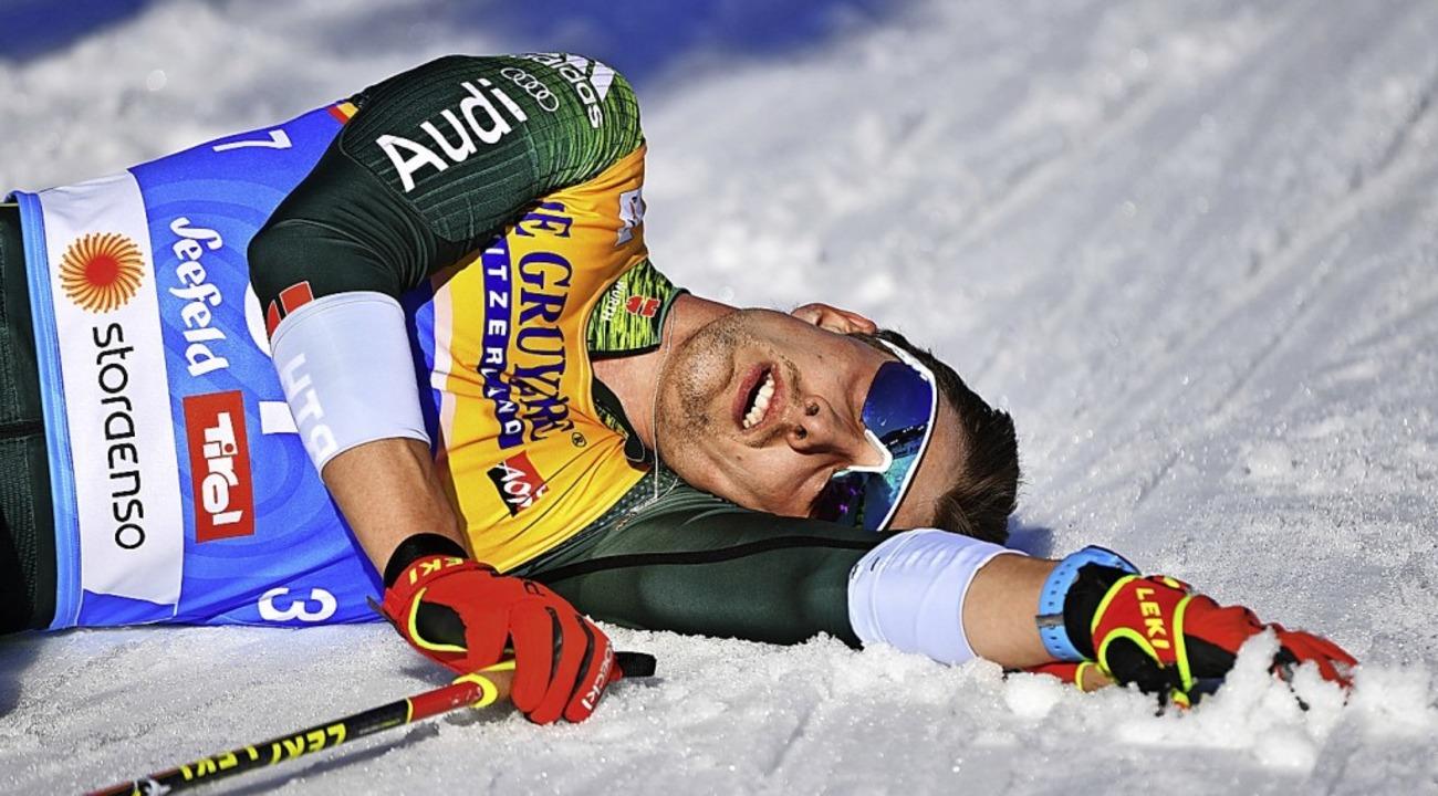 Ausgelaugt am Ende seiner ersten Saiso...Aktiven: Skilangläufer Janosch Brugger  | Foto: dpa