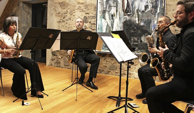 Das  Raschèr Saxophone Quartet in Kirc... Zoelen, Noah Bedrin und Elliot Riley   | Foto: Erich Krieger