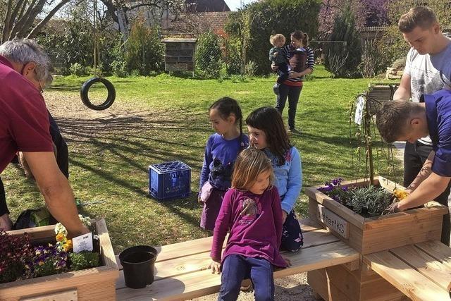 Bepflanzte Sitzecke