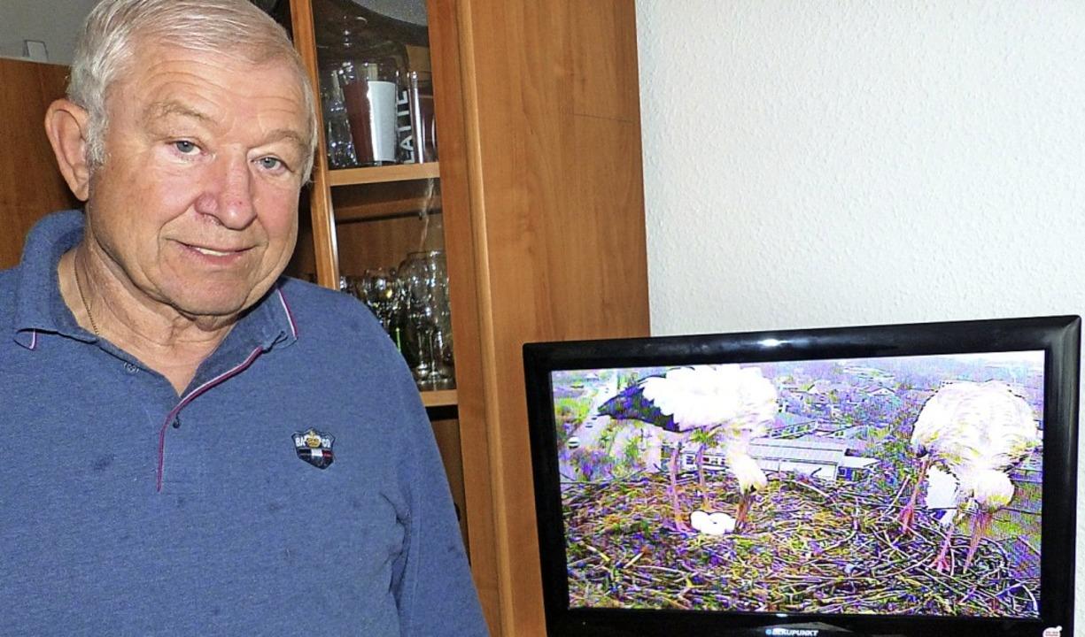 Hans Müller beobachtet die Störche in ...era am Nest und digitaler Übertragung.  | Foto: Claudia Bachmann-Goronzy