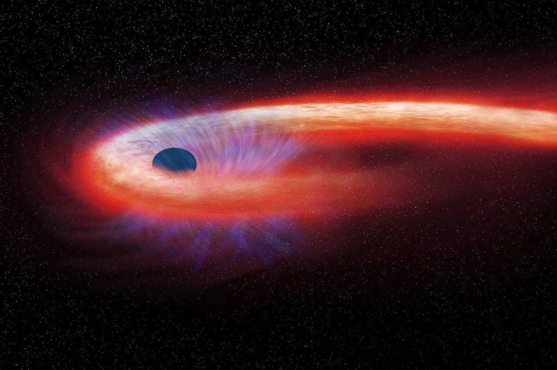 Diese von der NASA bereitgestellte gra...ahlen hinter sich lässt. (Archivbild)   | Foto: M.Weiss/NASA/Chandra X-ray Observatory/AP/dpa